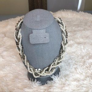 Pearl, Beads, Chain and Stone Braided Necklace
